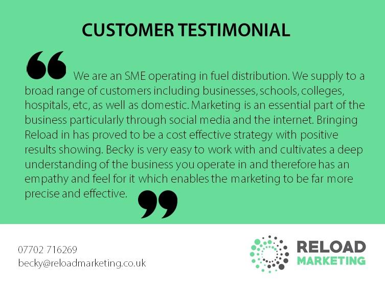 Image Showing Customer Testimonial of Reload Marketing